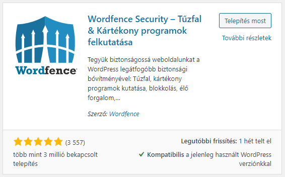 Wordfence Security ingyenes wordpress plugin képe