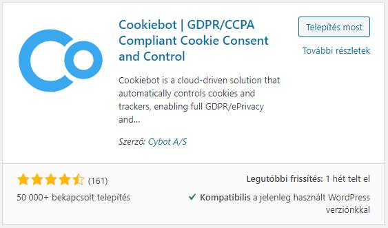 Cookiebot ingyenes wordpress plugin képernyő